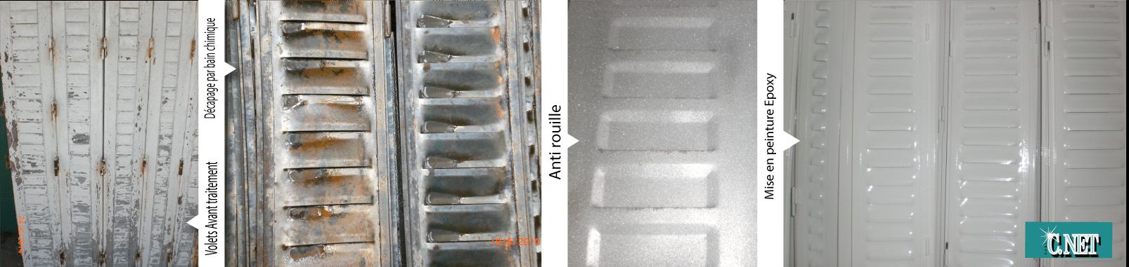 decapage de volets métaliques